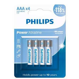 Pilha Alcalina AAA Philips LR03P4B/59 C/4