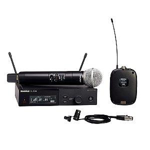 Sistema sem fio com microfone de mao- bodypack e lapela - SLXD124/85-G58 - Shure