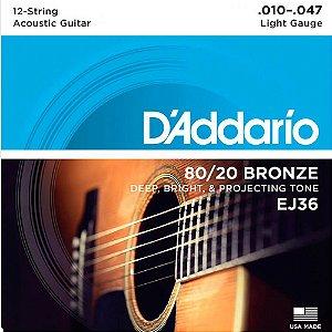 Encordoamento D'addario EJ36 .010 Aço para Violão 12 Cordas