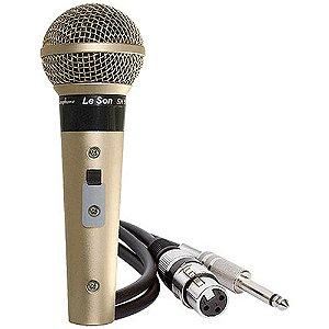 Microfone Profissional Leson Sm58 P4 Cardióide Champanhe