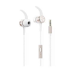 Fone de Ouvido Flex com fio, Intra Auricular, com microfone,Branco/Rose Gold,
