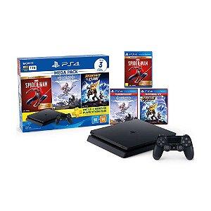 PlayStation 4 Mega Pack V15 1TB 1 Controle Preto - Sony com 3 Jogos