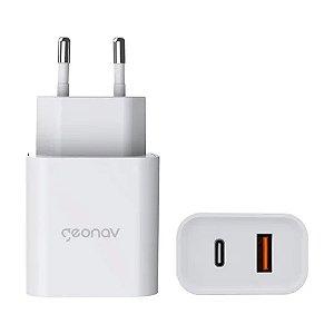 Carregador Universal Ultra Rápido Duo, 1 X USB-C 20W, 1 X USB 18W, Branco