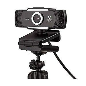 Webcam HD 720P Foco Manual, Tripé e Porteção de Lente ,Preto