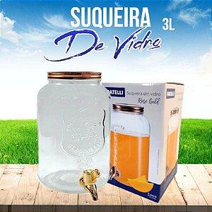 Suqueira Em Vidro 3L Rose Gold Com Dispenser de Bebidas