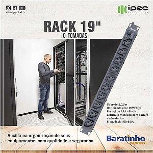 Filtro De Linha Rack19 Extensão Régua 10 Tomadas Bivolt Ipec