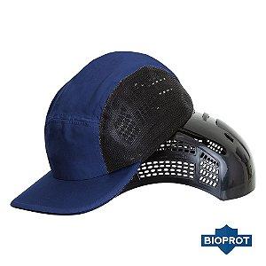 Boné Com Casquete Plástico Segurança Proteção Da Cabeça Azul