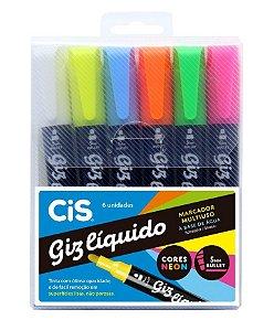 Giz Liquido Estojo Com 6 Cores Neon Cis !