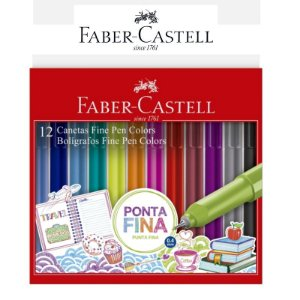 Canetas Fine Pen Colors ES1ZF 12 Cores Faber Castell