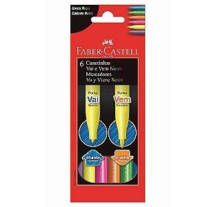 Caneta Hidrográfica Vai e Vem 6 Cores Neon - Faber Castell