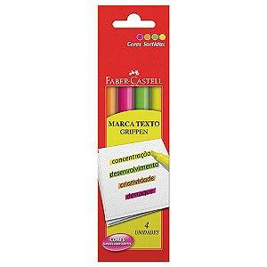 Marca Texto Grifpen C/4 Cores Neon - Faber-Castell