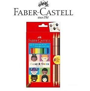 Ecolápis De Cor 12 + 3 Caras E Cores Faber Castell