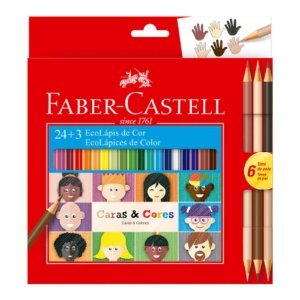 Lápis De Cor Faber 24 Cores + 6 Tons De Pele Caras E Cores