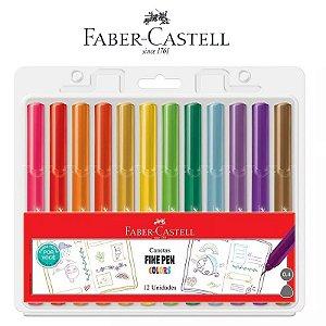 Canetas Fine Pen Colors Pro 12 Unidades Faber Castell