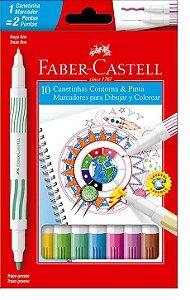Caneta Hidrografica Ponta Dupla 10 Cores - Faber Castell