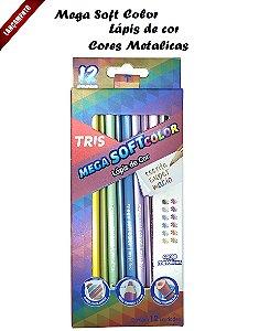 Lápis de Cor Mega Soft Metalico Tris c/12 Cores