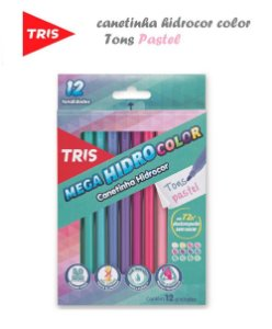 Canetinha Mega Hidrocor em Tons Pastel Estojo c/12 - Tris