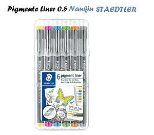 Caneta Nankin Pigment Liner Staedtler 0.5 c/6 cores