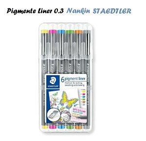 Caneta Nankin Pigment Liner Staedtler 0.3 c/6 cores