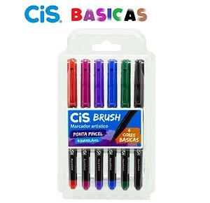Marcador Aquarelavel Cis Brush c/ 6 Cores Básicas