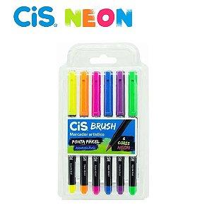 Marcador Aquarelavel Cis Brush c/ 6 Cores Neon