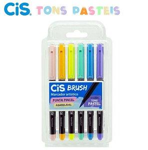Marcador Aquarelavel Cis Brush c/ 6 Tons Pastel