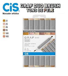 Caneta Cis Graf Duo Brush 2 Pontas C/06 Cores Tons De Pele