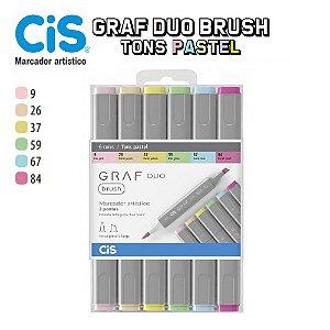 Caneta Cis Graf Duo Brush 2 Pontas C/06 Cores Tons Pastel