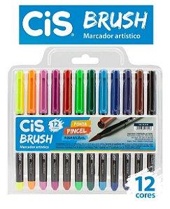 Marcador Aquarelavel Cis Brush Est c/12 cores