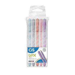Caneta Cis BPX 0,7mm Corpo em Tons Pastel Estojo com 5