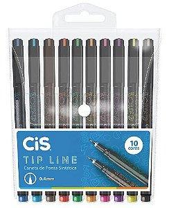 Caneta Hidrográfica Cis Tip Line 0.4mm Estojo com 10 Cores