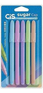 Caneta Cis Sugar Cap 1.0mm Corpo em Tons Pastel Estojo com 5