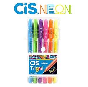 Kit Caneta Gel Trigel Cis Estojo Com 6 Cores Neon