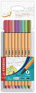 Caneta Stabilo Point 88 0,4mm Estojo C/8 Cores Pastel 88/8-04