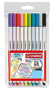 Caneta Brush Stabilo Pen 68 Brush - Estojo Com 10 Unidades