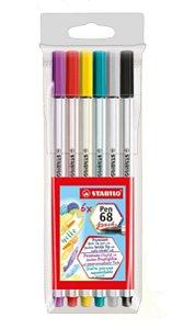 Caneta Brush Stabilo Pen 68 Brush - Estojo Com 6 Unidades