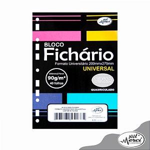 Bloco Fichário Colegial 40fls Cinza Quadriculada 90g Merci
