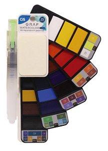 Tinta De Aquarela 25 Cores Com Escova De Água Watercolor Cis
