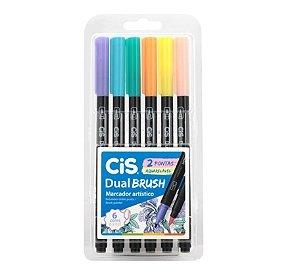Cis Marcador Dual Brush Estojo C/6 Cores Pastel