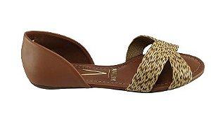 Sandalia Rasteira  Confort Flat 1834.433 Cores - Preto/camel
