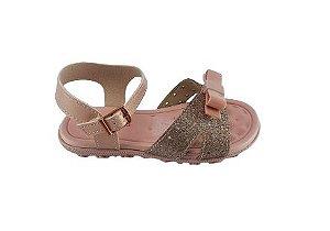 Sandalia Infantil Baby Laço Molekinha 2121116 - Ouro Rosado