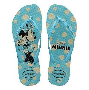 Chinelo Havainas Minnie Slim Disney Cores - Vermelho/azul