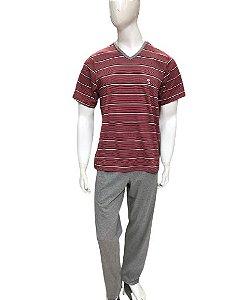Pijama Paulienne H.263.61.l Com Calca Listrado Algodao