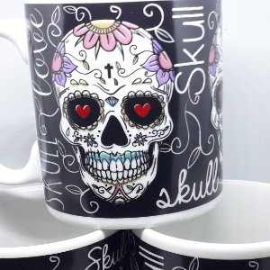 Caneca Porcelana Caveira Mexicana Skull Love 320ml Alta Qual Um Super Presente