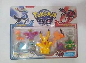 Personagens Pokemon Go 1 Carlela Pikachu 10cm com 8 personagens de 5 cm + Cards