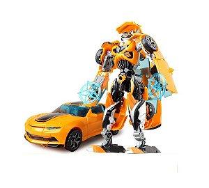 Boneco Transformers Bumblebee Estrela Azul Camaro Amarelo Jinjiang 19cm
