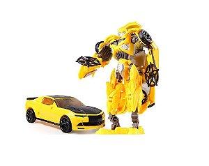 Boneco Transformers Bumblebee Estrela Preta Camaro Amarelo Jinjiang 19cm