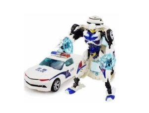 Boneco Transformers Bumblebee Policial Camaro Carro de Polícia Branco Jinjiang 19cm