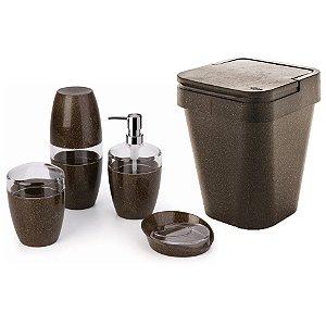 Kit Banheiro 5pç Eco Porta Sabonete Escovas Algodão Lixeira Sustentável - Ou - Cana