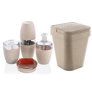 Kit Banheiro 5pç Eco Porta Sabonete Escovas Algodão Lixeira Sustentável - Ou - Marfim